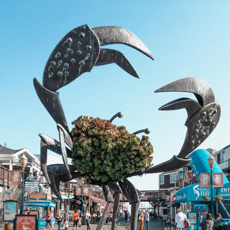 Pier 39 große Krabbe aus Stahl San Francisco